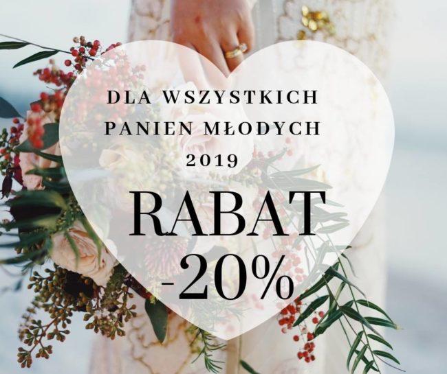 Baner informujący o 20% rabatu dla wszystkich Panien Młodych, w tle bukiet ślubny