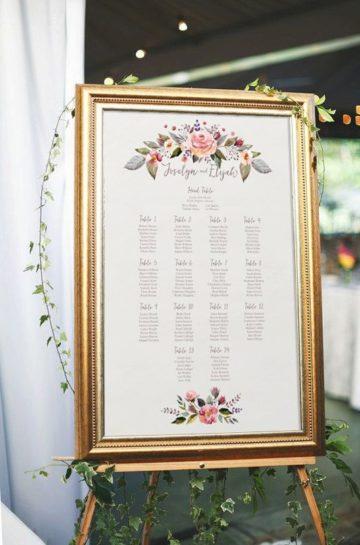 Tablica z rozmieszczeniem gości w pozłacanej ramie.