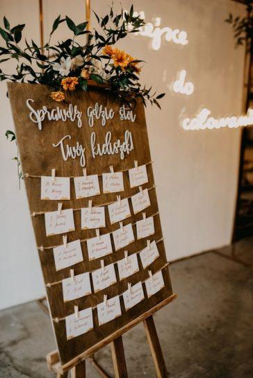 Drewniana tablica na sztaludze, przybrana kwiatami z napisem 'sprawdź, gdzie stoi Twój kieliszek', What a lovely day Wedding Planner
