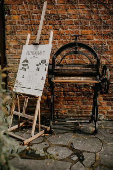 Plan Przyborowa 11 na drewnianej sztaludze i stara maszyna stolarska, What a lovely day Wedding Planner