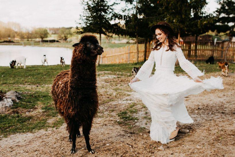 Panna Młoda w klimacie boho, pozująca z dużą, brązową alpaką, What a lovely day Wedding Planner Poznań